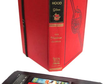 Red Robin Hood tablet case made from vintage hardback book, black and grey lining, fits Kindle Fire, Paperwhite, Voyage, HD6,
