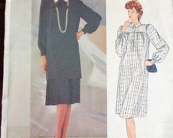 Vintage Guy Laroche Designer Sewing Pattern Vogue Paris Original 1124 Dress Tunic Top w/ Bow Yoked Skirt Women Miss Size 12 Bust 34 Uncut FF