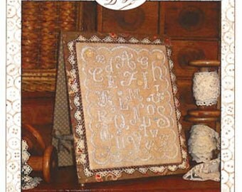 NeW! SUE HILLIS DESIGNS Alphabet en Blanc White counted cross stitch patterns at thecottageneedle.com monochromatic