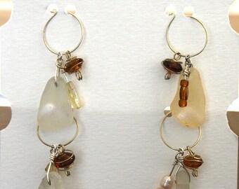 Sea Glass Wine Glass Charms with Beads
