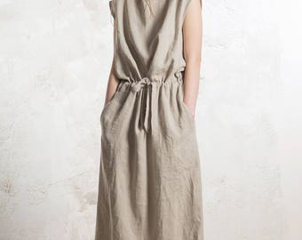 Extra long linen dress, Linen maxi dress with pockets