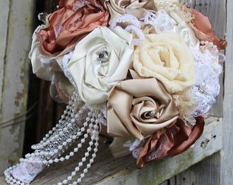 Elegant Fabric Bouquet, Vintage Glam Wedding Bouquet, blush, flax, cream, champagne, pearls, rhinestones, bridal bouquet, Great Gatsby