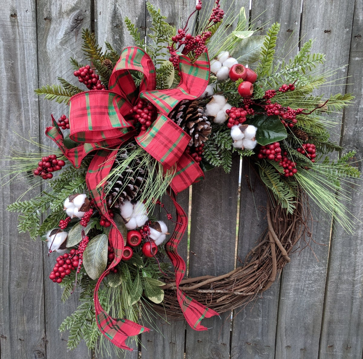 Holiday christmas wreath grapevine berry wreath with for Handmade christmas door decorations
