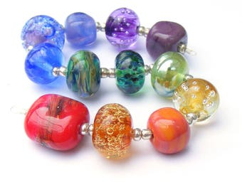 Handmade lampwork glass bead set of 12 renegade beads - lampwork orphan beads in rainbow colours