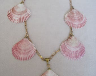 Authentic Matching Pink Sea Scallop Shell Necklace