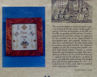 Cross Stitch Kit | The Scarlet Letter | DEAR AUNT | Miniature Sampler 19th Century | Counted Cross Stitch Kit