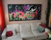 Venom Graffiti Art on Canvas *ORIGINAL Black Light reactive ARTWORK* by Vinni Kiniki