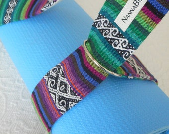 Yoga mat sling - mat carrier - yoga mat carry strap - pure cotton - heavy weight - exercise mat carrier - MEXICAN TEXTILES