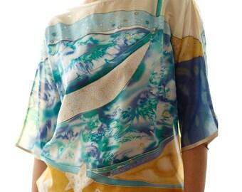 "Hand Painted Silk Blouse ""Sea""/ Woman Luxury blouse/ Abstract hand painted silk blouse/ Summer fashion blouse/Art to wear/Silk"