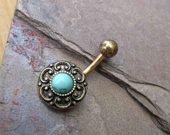 Gold Belly Button Ring Blue TurquoiseTribal Shield