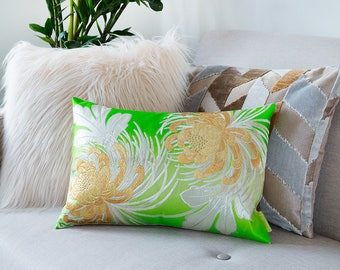 12 Year Anniversary, Boho Pillow, Metallic Cushion, Green Accent Pillow, Green Cushion, Vintage Silk Pillow, Japanese Kimono, Chrysanthemum