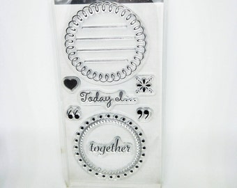 8 pcs Clear Stamps Journaling, Today I, Together, Love, Heart Shape, Lined Stamp, Circle Stamp