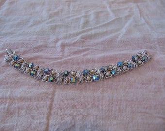 vintage coro signed silver filigree ab crystals seed pearls bracelet