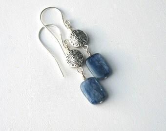 Blue Kyanite Earrings, Pewter Accents, Blue Dangle Earrings, Gift for Her