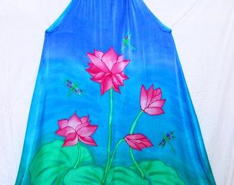 Pink Lotus silk sun dress, OOAK silk dress, blue silk dress, resort wear, festival wear, bohemian, beach cover up, pink lotus dress,