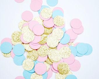 150 Paper Confetti   Gender Reveal Confetti   3/4 Inch Pink, Blue and Gold Confetti   Baby Shower Confetti   Gold Glitter Confetti
