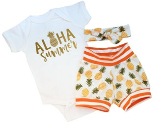 Summer Baby Girl Outfit - Pineapple Shorts - Baby Girl Clothes Unique - Baby Girl Pineapple - Pineapple Girl Shirt -