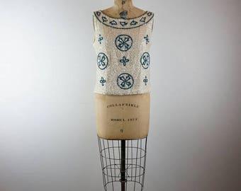 CLEARANCE SALE inspiration | vintage 60s sequins dress top | vtg 1960s shirt | medium/large | m/l