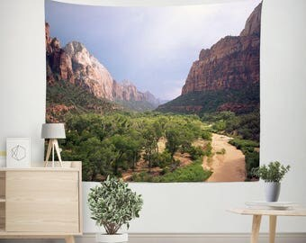 Valley to Zion - Nature Wall Tapestry, Desert Tapestry, Large Wall Tapestry, Bedroom Decor,  Adventure Decor, Utah Wall Art, Mountains