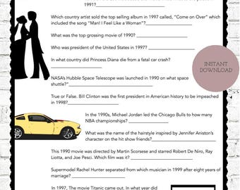 20th Anniversary Party Game   Questions from the 90's  Instant Download
