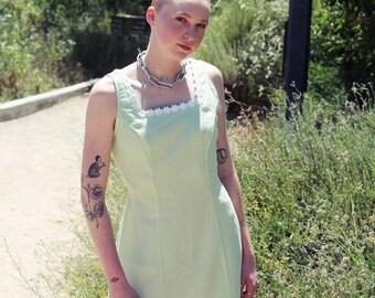 90s Green Gingham Summer Dress sz. S/M