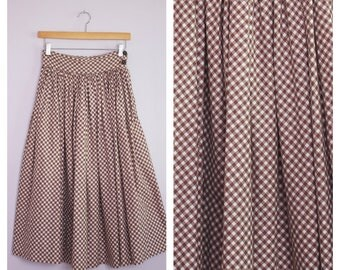 Vintage 1950's Brown Gingham Circle Skirt XS/S