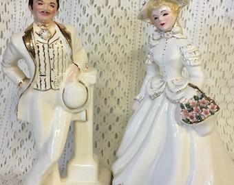 SUPER Exquisite Vintage Florence Figurines Ceramic Detailed Gold Pasadena, CA. Signed !!!