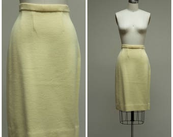 Vintage 60s Skirt • Darling Doreen • Pale Yellow Wool 1960s Skirt by Puccini Size Medium