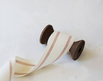 """Rose Gold Metallic + Natural French Stripe Cotton Ribbon (with Wooden Spool) - 5 yards - 1.5"""" wide"""