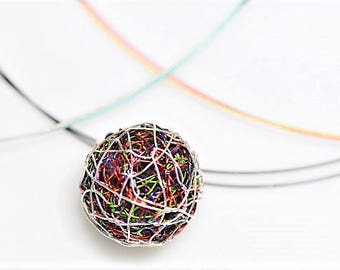 Ball necklace, wire pendant, modern minimalist, green red, geometric necklace, sphere necklace, boho, cute, Christmas, Birthday gift for her