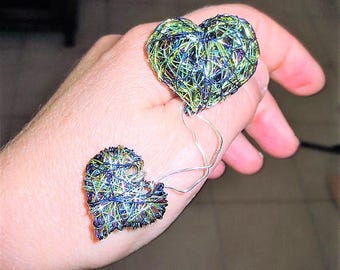 Art brooch Heart brooch Two hearts jewelry Blue green jewelry Wire sculpture art Valentines day Love gift for her Modern Boho jewelry Autumn