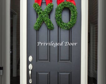 Valentine Wreath Set.  XO Wreath. Faux Boxwood XO SET.  Show your door some true love this Valentines Day.