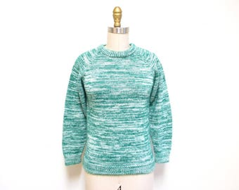 Vintage 1970s Sweater   Green and White 1970s Space Dye Sweater   size xs - small