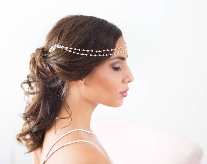 Pearl Draped Headpiece, Gold bridal hair chain, Gold Forehead Piece, Silver Draped Hair piece, wedding chain headpiece, forehead chain piece