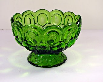 Vintage MOON & STARS COMPOTE Emerald Green Footed Candy Dish L E Smith