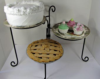 Vintage SWiVEL PIE STAND 3 Tier BAKERY STATiON Cake Pastry Cookie Cupcake Kitchen Buffet Display Rack Black