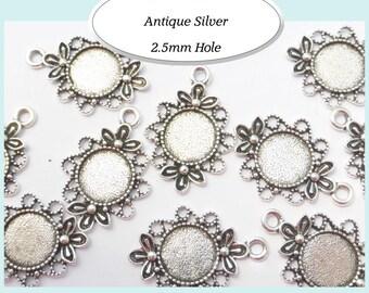 10 x Round Filigree / Bezel Earring / Charm Pendant Antique Silver 12mm inner