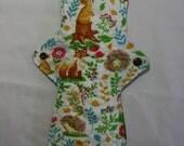 Kiki Mama Cloth Menstrual Pad Overnight 12 in Size Rabbit Fox Flower Forest