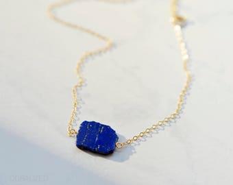 Lapis Lazuli Necklace, 14kt Gold Fill, Stone Necklace, Blue Lapis Pendant, Everyday Necklace, December Birthstone Necklace