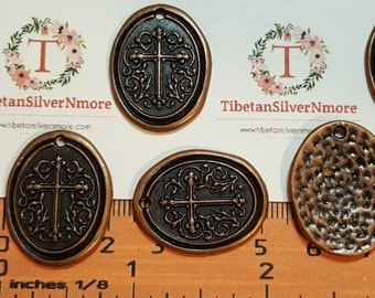 6 pcs per pack 27x21mm One side Oval Hammered Cross stamp Antique Copper Finish Lead Free Pewter