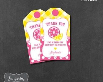 Pink Lemonade Birthday Favor Tag, Lemonade Birthday Decorations, Personalized, Printable PDF File