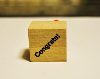 Congrats rubber stamp. new. Miniature small.
