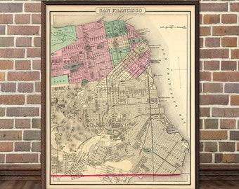 Map of San Francisco - Old map archival print  - San Francisco map - Fine art giclee