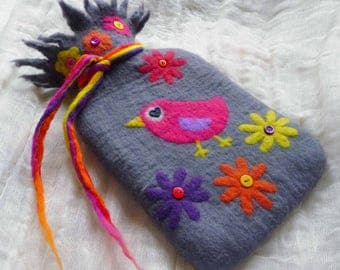 hot water bottle, felted cosy, cover, handmade, felted wool, MADE TO ORDER, waldorf inspired, fairy tales, bird, flowers