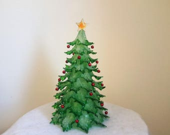 Herman Hiss & Co. Green Christmas Tree Tiered Staged Lighting Acrylic/Lucite With Mini Ornaments Battery Operated