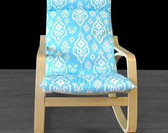 Blue Indian Ikat Ikea Poang Chair Seat Cover