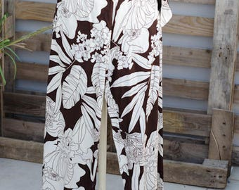 90's Cotton High Waisted Trousers - Brown and white floral long trousers - Totem Brand
