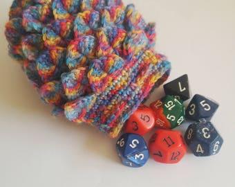 Scale Dice bag rainbow pouch / crocodile stitch
