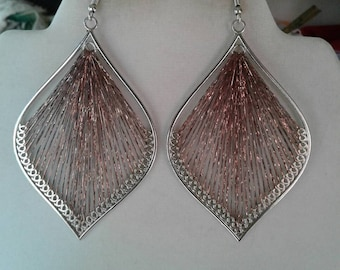Metallic Brown and Silver Leaf Orament Thread Earrings, Bohemian, Native, Hippie, Peruvian style, Southwestern, Great Gift, Ready to Ship