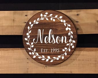 Name Sign | Round Wood Sign | Established Date | Vine Wreath | Wedding Gift | Custom Sign | Hand Painted Sign | 22601